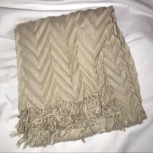 Beige Zig Zag Creased Patterned Fashion Scarf